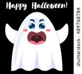 halloween funny cartoon ghost....   Shutterstock .eps vector #489768784