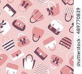 woman bags seamless pattern.... | Shutterstock .eps vector #489770839