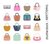 woman bag set. flat icons set... | Shutterstock .eps vector #489770941