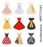 retro woman dress set. fashion... | Shutterstock .eps vector #489771361