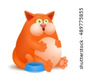 fat glutton ginger cat with... | Shutterstock .eps vector #489775855