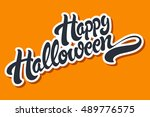 happy halloween hand drawn... | Shutterstock .eps vector #489776575