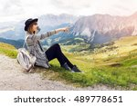 woman  happy traveler with... | Shutterstock . vector #489778651