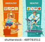 healthy and unhealthy woman...   Shutterstock .eps vector #489783511