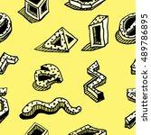 seamless pattern. hands draw... | Shutterstock .eps vector #489786895