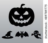 halloween vector set. halloween ... | Shutterstock .eps vector #489789775