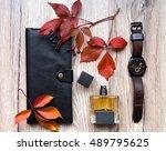 closeup of men's accessories... | Shutterstock . vector #489795625