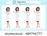 set of smart doctor presenting... | Shutterstock .eps vector #489796777