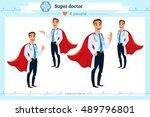 set of smart super doctor... | Shutterstock .eps vector #489796801