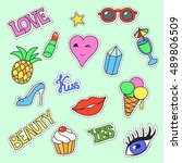fashion patch badges. cartoon... | Shutterstock .eps vector #489806509