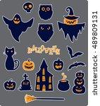 vector collection of halloween... | Shutterstock .eps vector #489809131