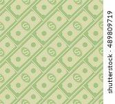 vector set of paper dollars... | Shutterstock .eps vector #489809719