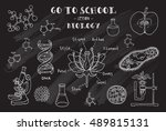 biology. hand sketches on the... | Shutterstock .eps vector #489815131