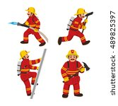 Set Of Firemans Vector...