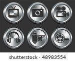 technology icons on metal...   Shutterstock .eps vector #48983554