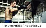 man exercise athletic boxing... | Shutterstock . vector #489845521