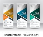 roll up banner stand template... | Shutterstock .eps vector #489846424