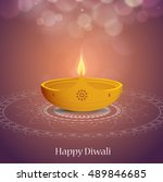 indian festival diwali greeting ... | Shutterstock .eps vector #489846685