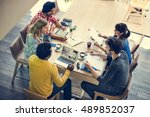 brainstorming connection... | Shutterstock . vector #489852037