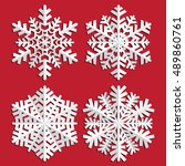 decorative abstract snowflake.... | Shutterstock .eps vector #489860761