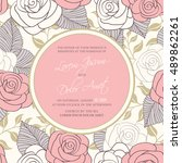 wedding invitation card with... | Shutterstock .eps vector #489862261