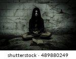 sorcerer girl in dark place...   Shutterstock . vector #489880249