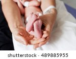 close up of newborn babies feet ... | Shutterstock . vector #489885955