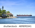 island of palmas and ship in... | Shutterstock . vector #489890341