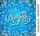 merry christmas handwritten... | Shutterstock .eps vector #489896587