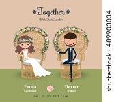 rustic bohemian cartoon couple... | Shutterstock .eps vector #489903034
