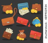 wallets purse money icons set... | Shutterstock .eps vector #489903934