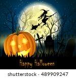 halloween spooky background | Shutterstock .eps vector #489909247