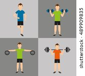 athlete avatar with sport icon... | Shutterstock .eps vector #489909835