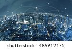 city with conncection line ... | Shutterstock . vector #489912175