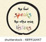 calligraphy  the fool speaks ... | Shutterstock .eps vector #489916447