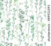 wild flower vector engraving... | Shutterstock .eps vector #489921091