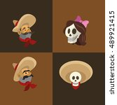 mexican culture related icons... | Shutterstock .eps vector #489921415