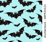 seamless halloween pattern.... | Shutterstock .eps vector #489924121