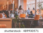 start up team in modern... | Shutterstock . vector #489930571