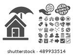 house under umbrella icon with... | Shutterstock .eps vector #489933514