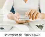 close up woman hand use finger... | Shutterstock . vector #489942634