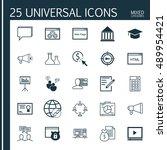 universal icons set on diploma  ...