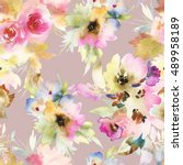 seamless pattern with flowers... | Shutterstock . vector #489958189