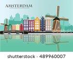Amsterdam Skyline. Flat Style...