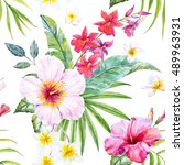 watercolor tropical pattern ... | Shutterstock . vector #489963931