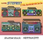 boombox set cassette stereo...   Shutterstock .eps vector #489964399