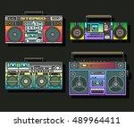 boombox set cassette stereo... | Shutterstock .eps vector #489964411