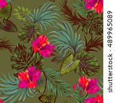 vector tropical camouflage... | Shutterstock .eps vector #489965089