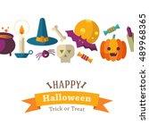 happy halloween background | Shutterstock .eps vector #489968365