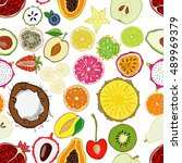 seamless pattern with exotic... | Shutterstock .eps vector #489969379